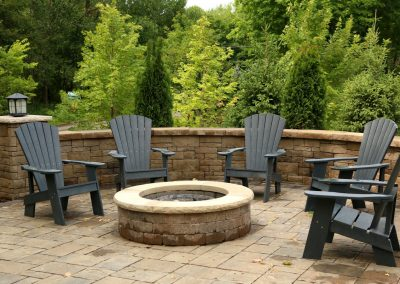 Paver Stone Fire Pit and Wall