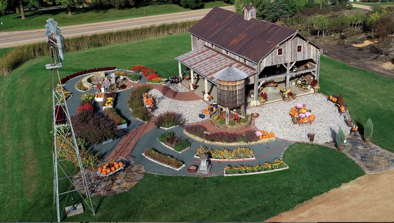 aerial view of hartmans barn in fall