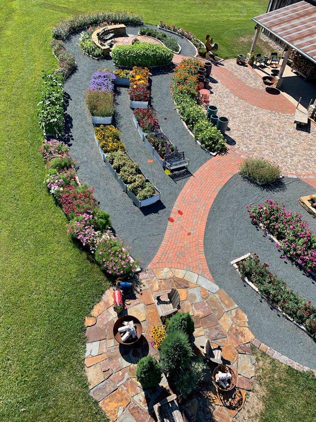 Aerial view of Hartmans garden beds